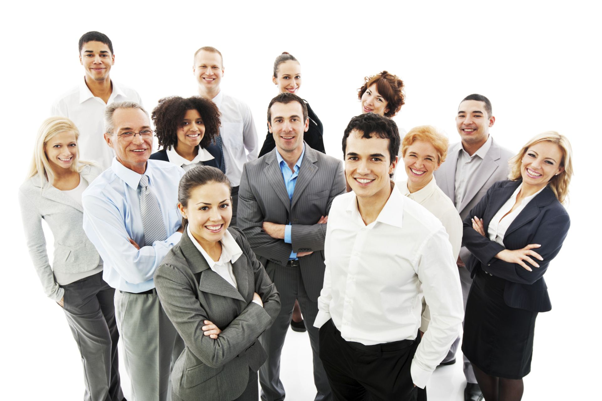 Group of a happy Business People standing together and looking at the camera.  Isolated on white background. [url=http://www.istockphoto.com/search/lightbox/9786622][img]http://dl.dropbox.com/u/40117171/business.jpg[/img][/url]